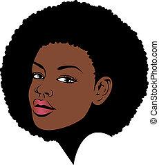 haar, amerikaanse vrouw, afro