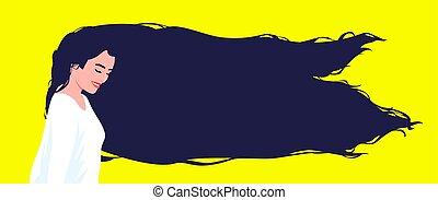 hair., vrouw beeltenis, lang, black