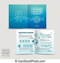 half-fold, eenvoud, ontwerp, mal, informatieboekje