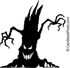 halloween, boompje, schrikaanjagend, silhouette
