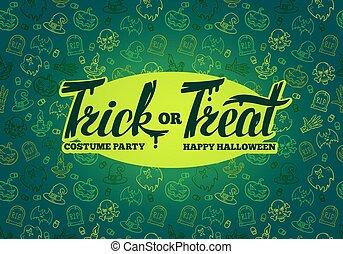 halloween, textuur, hand, truc, achtergrond., helder, ontwerp, treat., getrokken, lettering., of