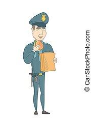 hamburger., politie, jonge, officier, eten, kaukasisch