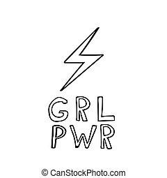 hand, getrokken, lightning, lettering, feminism, meisje, slagzin, macht, poster, style.