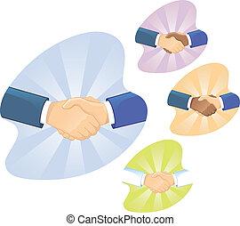 handdruk, mannen, twee