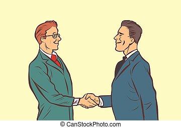handdruk, rillend, twee, hands., zakenlieden