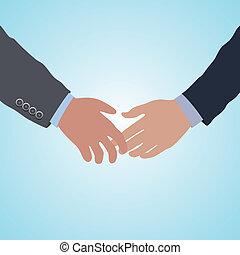 handdruk, twee, overeenkomst, vector, handen, gereed
