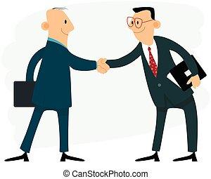 handdruk, twee, zakenlieden