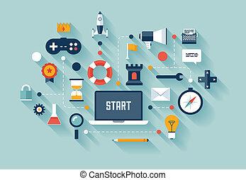 handel concept, gamification, illustratie