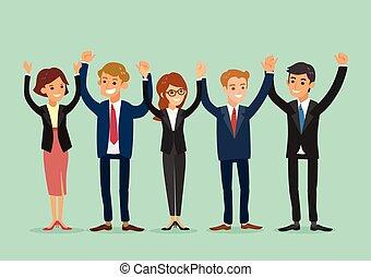 handel team, het samenhouden, handen