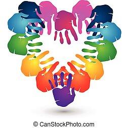 handen, hart, teamwork, logo, vorm