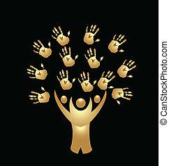 handen, mensen, boompje, goud, logo