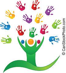 handen, mensen, boompje, logo, vector