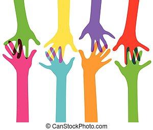 handen, nee, effect, doorzichtigheid, samen