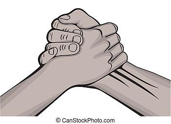 handen, zwarte man, handdruk, twee