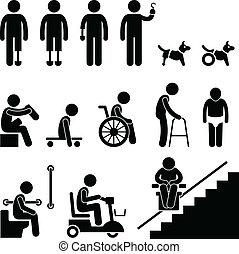 handicap, disable, amputee, mensen beman