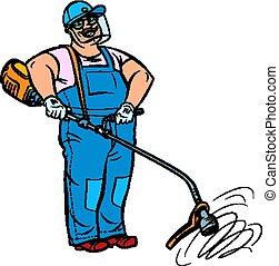 handleiding, tuinman, grasmaaimachine