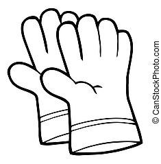 handschoenen, hand, tuinieren, schets