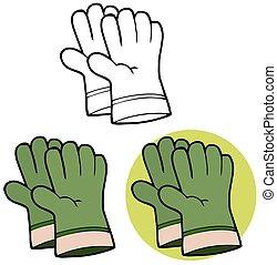 handschoenen, tuinieren, groene, hand