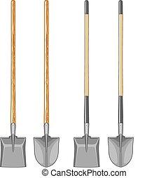 handvat, spade, lang, schop