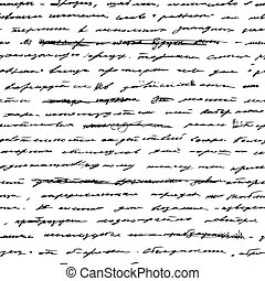 handwriting., vector, seamless, achtergrond.