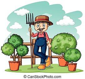 hark, tuinman, vrolijke