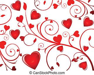 hart, abstract, achtergrond, valentijn
