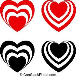 hart, abstract, set, valentijn