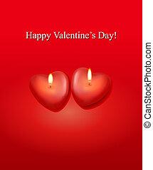 hart, achtergrond, candles., twee, valentine`s, vector., dag