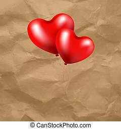 hart, balloon, transparant, achtergrond, rood