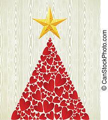 hart, boompje, kerstmis, liefde, dennenboom