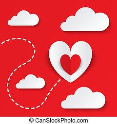 hart, card., valentines, papier, weg, dag, rood