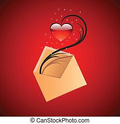 hart, concept, liefde, illustration., vector, boodschap, rood