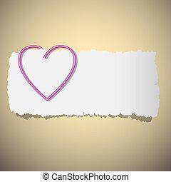 hart, de klem van het document, gevormd