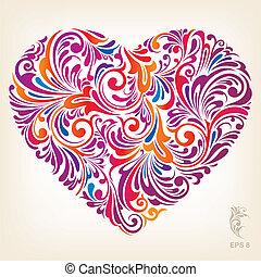 hart, decoratief, gekleurde, model