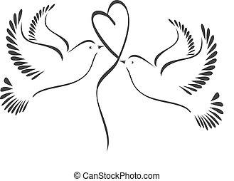 hart, duiven