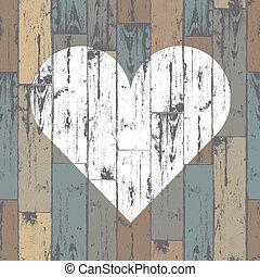 hart, eps10, houten, achtergrond., vector, witte