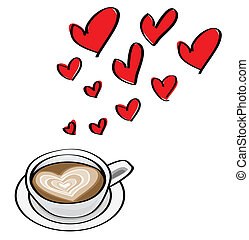 hart formeerde, doodle, valentijn, illustraties, latte., concepten, datering