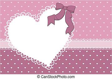 hart, frame, achtergrond, plakboek