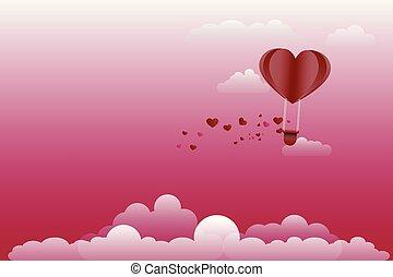 hart, gemaakt, kunst, balloon, vorm., lucht, warme, papier, origami, style.