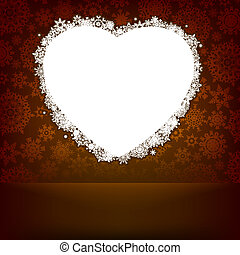 hart, gemaakt, snowflakes., eps, 8, witte