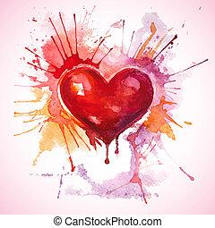hart, geverfde, hand, watercolor, getrokken, rood