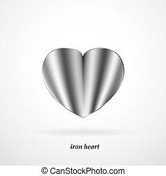 hart, ijzer, achtergrond, witte , schaduw