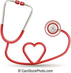 hart, illustration., realistisch, vrijstaand, achtergrond., vorm, vector, stethoscope, wit rood