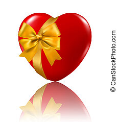 hart, illustration., ribbon., valentine`s, achtergrond., vector, hangend, dag, rood