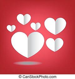 hart, kunst, valentines, papier, achtergrond, dag