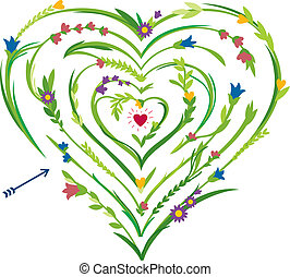 hart, labyrint, gevormd, floral