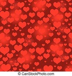 hart, levendig, model, seamless, valentijn, rood