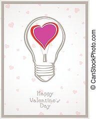 hart, licht, valentijn, achtergrond, bol, dag