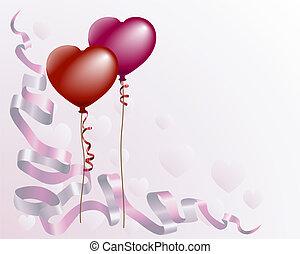 hart, liefde, achtergrond, gevormd, balloon