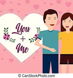 hart, liefde, paar, groet, valentijn, dag, kaart